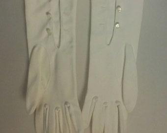 Vintage formal white gloves wedding gloves Hansen Aylasuede gloves long gloves button gloves vintage  size 7