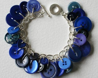 Button Bracelet Bright Blue Mix