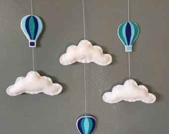 Clouds and hot air balloon mobile