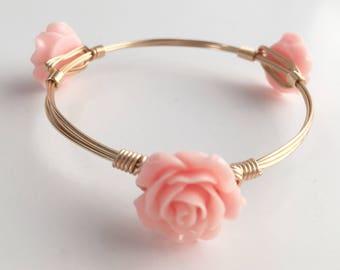 Flower Wire Wrapped Bangle Bracelet, Wire Wrapped Bracelet, Wire Bangle, Pink Flower Bangle, Wire Wrap Bangle