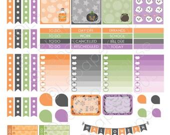 Halloween Printable Planner Sticker Set, Erin Condren Life Planner, Instant Download