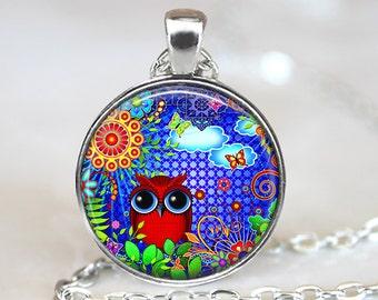 Owl Pendant, Original Art Necklace, Red Owl Art Jewelry, Owl Eyes Pendant, Bronze, Silver, Owl Jewelry, Owl Art, Forest Animal Pendant 352
