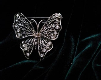 Butterfly Broach with Rhinestones