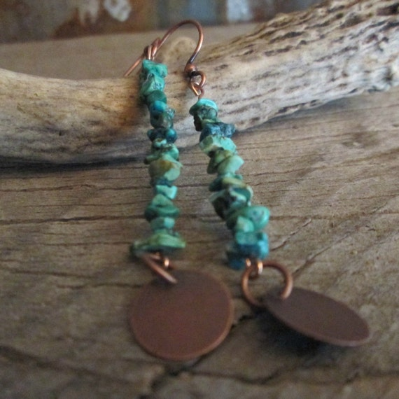 Beaded Earrings, Turquoise Earrings, Stone Earrings, Stacked Stone Earrings, Earrings
