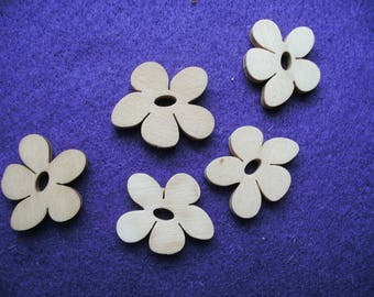 Flower, wood, 5 pieces, 4 cm (01-0001C)