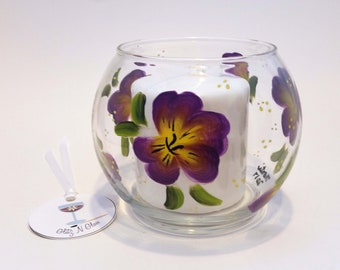 Hand Painted Purple Pansy Fish Bowl Candle Holder