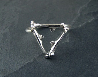 Sterling Silver Triangle Bone Ring // cast bone jewelry // gifts for her // geometric ring