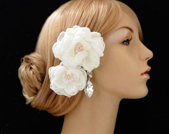 Wedding Flower Hair Piece, Bridal Chiffon Hair Flowers, Wedding Hair Clips, Bridal Accessories - Sash Accessories In Off White Chiffon