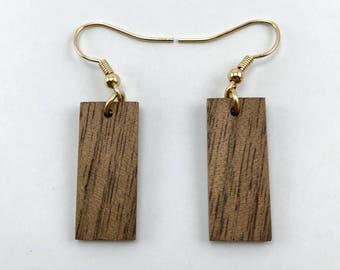 Handmade Small Rectangle Wood Earring