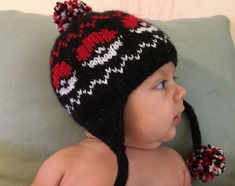 Sparkly pokeball earflap hat