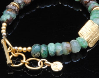 Chrysophase Beaded Bracelet with Vermeil Beads and Clasp