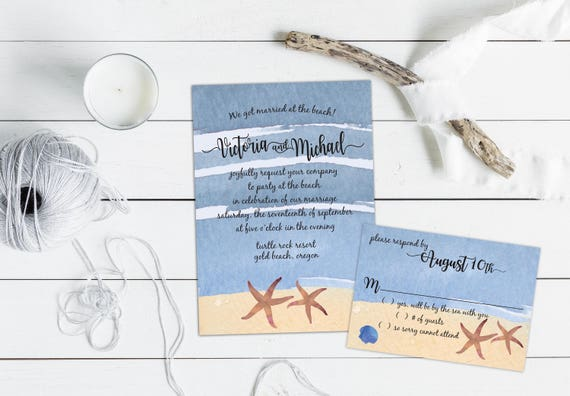 Watercolor Beach with Starfish Wedding or Elopement Invitation, Beach Wedding, Event Invitation Suite, Response Cards, Thank you Cards