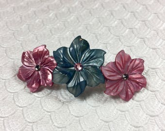 Mauve and Charcoal Peruvian Lily Mother of Pearl Flower Barrette