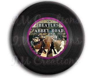 "LIQUIDATION SALE! Vinyl Record Beatles Pocket Mirror, Magnet or Pinback Button - 2.25"""