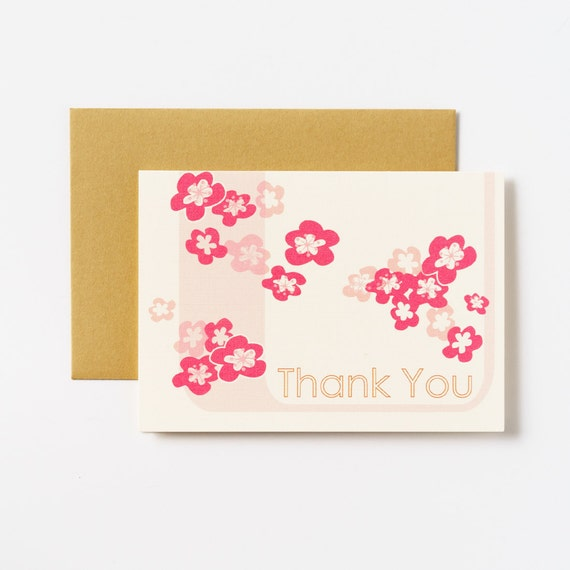 Cherry Blossoms Thank You Greeting Cards - Set of 5