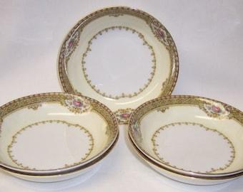 Meito ANNETTE Gold Trim 5 3/8 Inch FRUIT BOWLS, Set of 5 Bowls