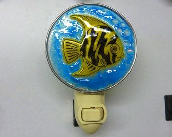Fish Night Light - Angelfish Nightlight - Blue & Yellow Angel Fish Night Light - Fused Glass Fish Nightlight