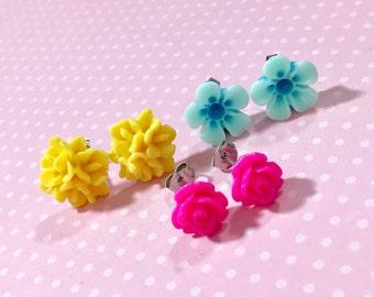 Stud Earring Set, Flower Stud Earrings Set, Bright Pink Rose Studs, Yellow Flower Cluster Studs, Aqua Daisy Studs, Floral Studs Set