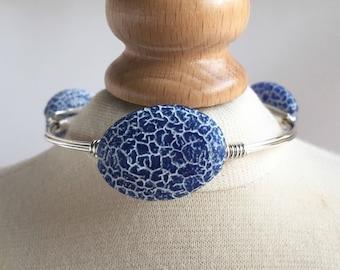 Blue Fire Agate Wire Wrapped Bangle, Wire Wrap Bangle, Wire Wrapped Bracelet, Wire Wrap Bracelet, Wire Bangle, Gemstone Bangle