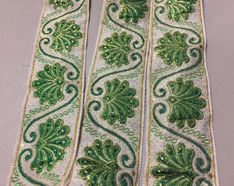 Vintage French Brocade Ribbon, Green with White and Metallic Gold Finish, 1 3/8 inches wide, Price is per Yard