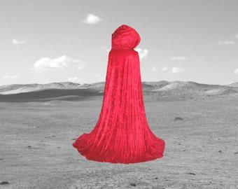 Red Cloak - Little Red Riding Hood -  Mother's Day - Velvet - Wedding - Prom - Renaissance Festival - Halloween -  Cape - Vampire - Fairy