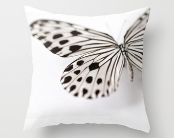 Decorative Pillow Cover, Photo Pillow Case Accent Pillow Butterfly Pillow Black and White Butterfly, Nature Pillow Entomology, 16 18 20 inch