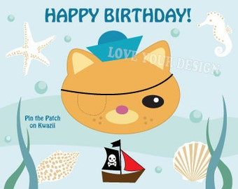 Octonauts Kwazii Pin the Patch on the Pirate Cat  Birthday Game INSTANT DOWNLOAD