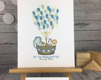 Jungle safari baby shower ideas | jungle fingerprint sign in | thumbprint balloon guestbook | elephant baby shower | hot air balloon | guest