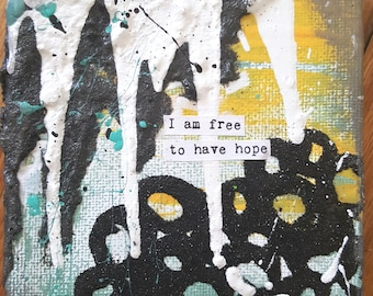 NEW! Magnet Mini Original Canvas 4 x 4 Inch - Affirmation - Free to Hope!