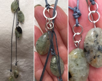 Green Aventurine Lariat, Gemstone Lariat Necklace, Handmade Gemstone Necklace, Designer Jewellery, K Brown Jewellery, Boho Jewellery