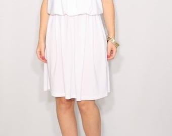 SALE Short white dress Spaghetti strap dress Blouson dress Wedding dress