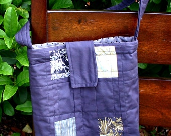 Quilted Tote Bag - Gray and Metallics