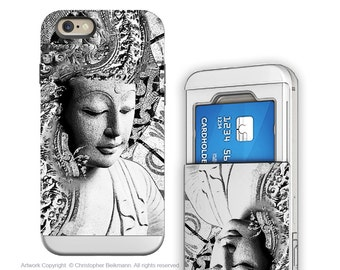 Buddha iPhone 6 6s cardholder Case - Buddhist Art for iPhone 6 - Bliss of Being - Credit Card Holder iPhone 6s Case with Rubber Sides