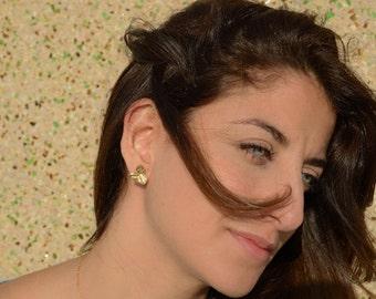 Gold flower stud earrings, Stud earrings, Gold post earrings, Gold post earrings, leaf earring studs , flower earrings