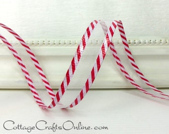 """Christmas Wired Ribbon, 5/8"""" wide, White Sheer with Red and White Striped Edging - THREE YARDS, """"Candy Cane Sheer #3""""  Wire Edged Ribbon"""