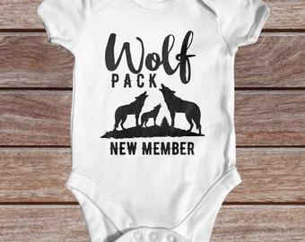 Wolf Pack New Member Baby Bodysuit | Animal Baby Bodysuit | Funny Baby Bodysuit | Cute Baby Clothes | Wolf Baby Bodysuit | Newborn Baby