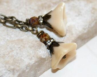 Flower Earrings, Cream flower earrings, long chain dangle earrings