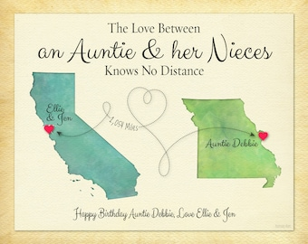 Aunt Gift, Personalized Auntie Gift Print, Gift for Niece, Long Distance Gift, Birthday Gift Idea, Going Away Gift, Choose Your Places