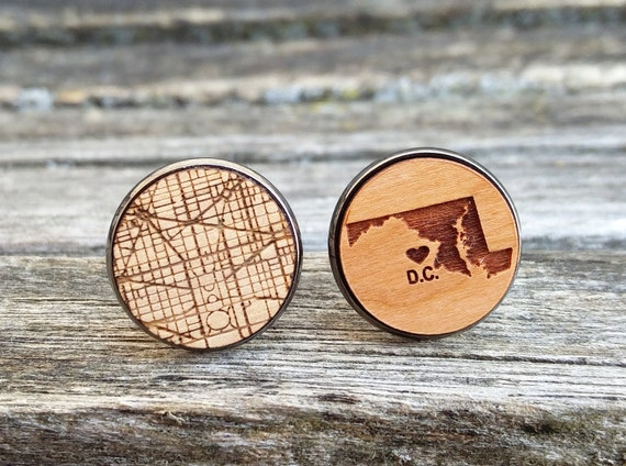 Washington D.C. Cufflinks. CHOOSE YOUR PLACES. Laser Engraved Wood. Wedding, Groomsmen Gift, Dad. Map