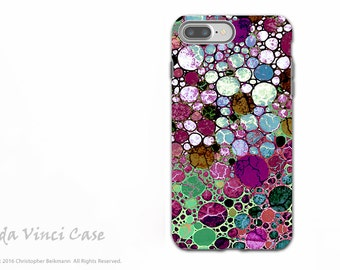 Burgundy Bubble Abstract - Artistic iPhone 7 PLUS - 8 PLUS Tough Case - Dual Layer Protection - Berry Bubbles