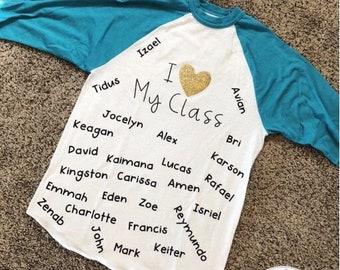 Custom: I love my class baseball shirt