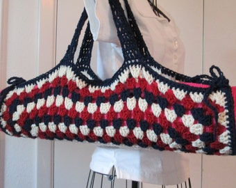 Yoga Mat Bag, Granny Square, Red White and Blue, July 4th,  9thelm Original HH Design