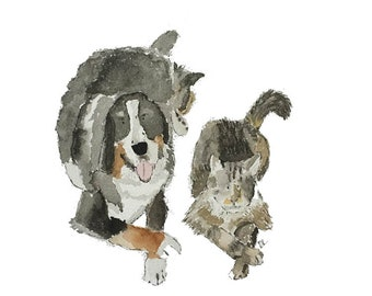 Custom Pet Portrait - 2 pets watercolor 5 X 7 or 8 X 10