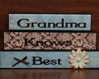 Grandma knows best wood block set stacked home decor