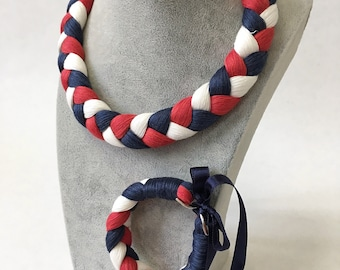 Braided linen necklace and bracelet - red, blue, white
