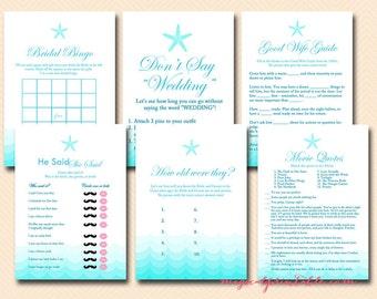 Beach Bridal Shower Game Printable, Nautical Bridal Shower Games, Beach Theme Bridal Shower Games, Bachelorette Games, Wedding Shower BS28
