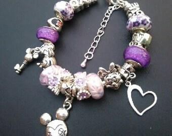 Handmade purple/lavender Mickey European Charm Bracelet