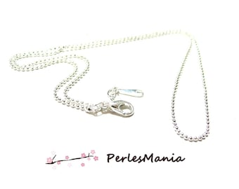 Necklace chain 1 bead thin bright silver 1 mm with clasp, DIY