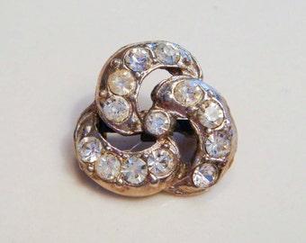 Silver Triquatra Celtic Knot Brooch with Rhinestones Vintage Antique