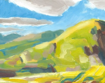 landscape painting oil original plein air on canvas 9x12 Looking North